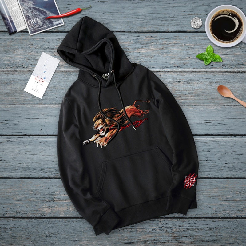 Men Women Hoodies Lion Graphic Print Sweatshirts Spring Autumn Oversized Casual Fashion Long Sleeve Pullovers Streetwear Clothes