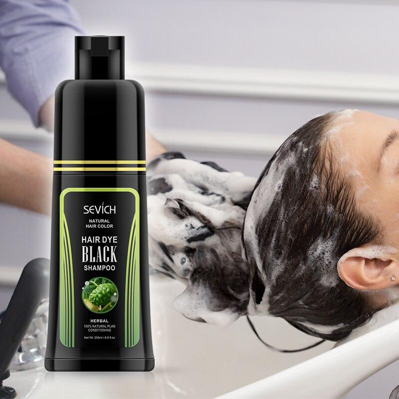 Sevich Hair Dye Shampoo Styling Products White Grey Hair Cover Black Hair Shampoo Plant Hair Dye Molding Cream Make up 250ml