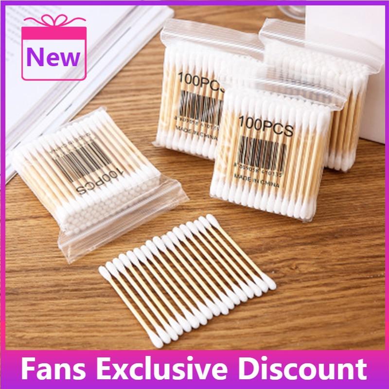 2021 Hot Sale 100pcs/bag Double Head Cotton Swabs Nose Ears Cleaning Wood Cotton Swabs Women Makeup