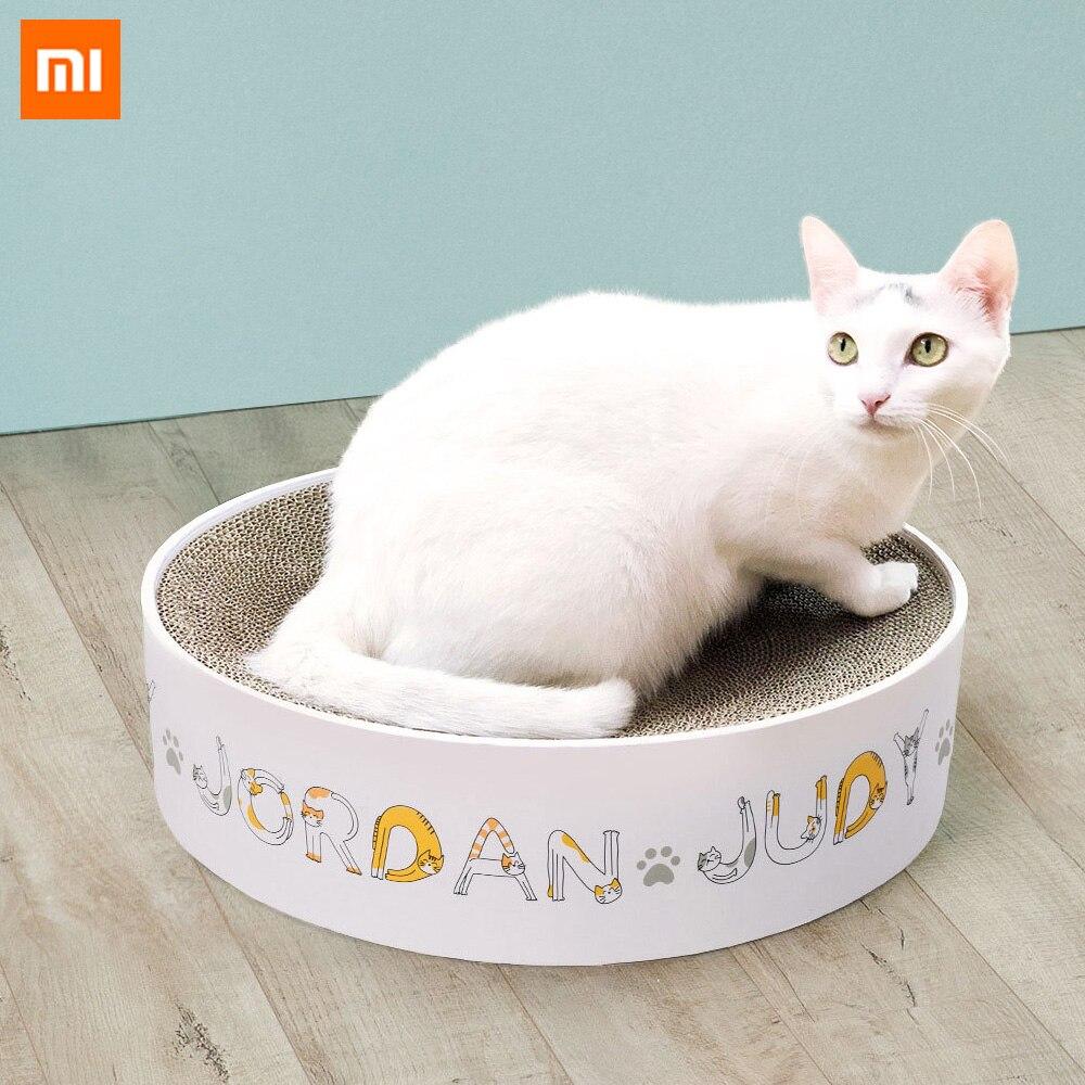 Rascador redondo para gatos Xiaomi, productos para mascotas, tabla Gato, papel corrugado, suministros para raspar, juguetes para gatos, Marco para escalada, estera raspadora