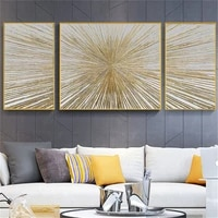 100hand painted modern oil painting golden strips and rays 3 part combination canvas painting noble home decoration painting