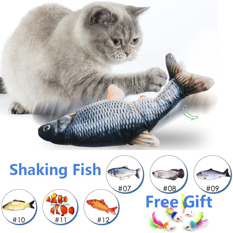 cat electric fish toy pet 3D Simulation fish Soft Plush shaking fish toy Stuffed interactive dancing