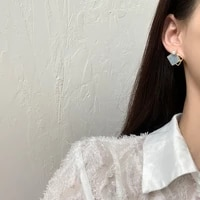 s925 needle fashion jewelry asymmetrical light dark blue earrings hot sellinggodlen plating pearl post earrings for women gift