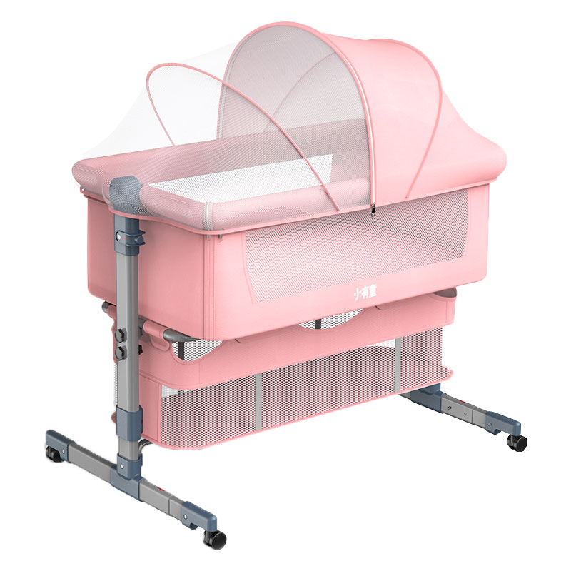 Baby Bed with Mosquito Net Removable Newborn Baby Cot Crib Infant Lounger Travel Bed Baby Girl Lounger Portable Bassinet 0-18M
