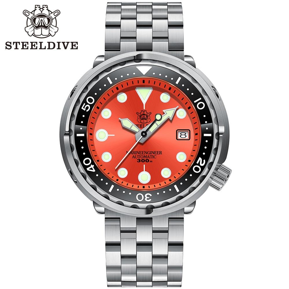 Steeldive Watch NH35 Movement Automatic Watch for Men 300m Waterproof Ceramic Bezel C3 Luminous Men Mechanical Wristwatches