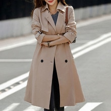 Trench Coat Women Long British Style Autumn And Winter New High-end Atmospheric Fashion Double-breas
