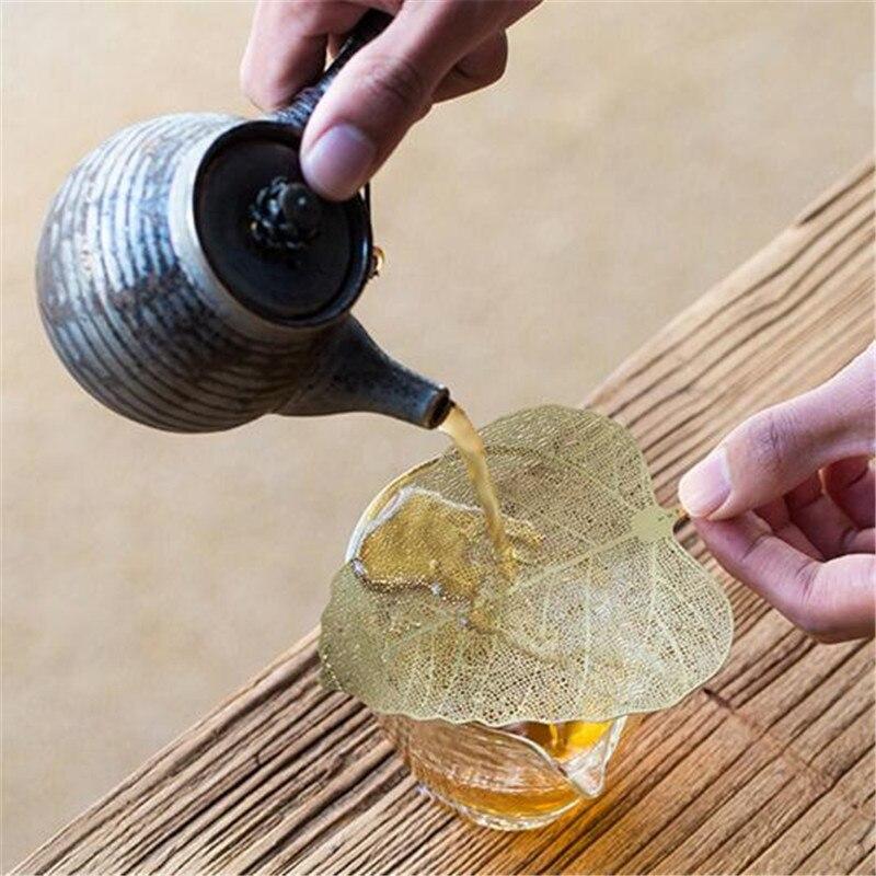 Filtro de té creativo en forma de hoja, juego creativo de té, tetera en acero inoxidable, coladores de tazas, accesorios para tetera en 2 colores