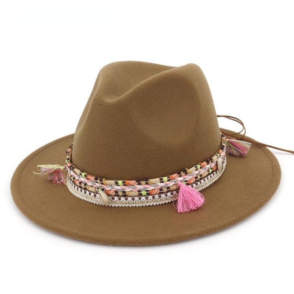 New Women Fedora Hat Wool Khaki Jazz Hats Female National Casual Large Brim Vintage Autumn Classic Felt Cap 2021 vintage wool felt octagonal cloche hat