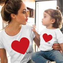 Amor familia ropa madre hija camiseta niñas blusa juego conjuntos camiseta mamá niños encantadora blusa niños bebé niña camiseta