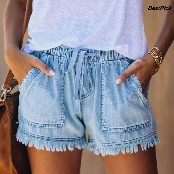 2020 verão denim curto shorts feminino franjas cintura alta elástico calças de brim curto casual all-match calças curtas