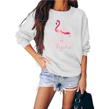 Flamingo Print Sweatshirt Nordic Style Flamingo Print Men's and Women's Long Sleeves Pullover Sweate