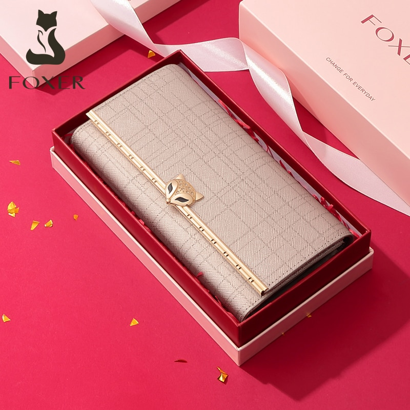 FOXER Women Fashion Valentine's Day Gift Wallet Female Cowhide Clutch Bag Card Holder Lady Luxury Co