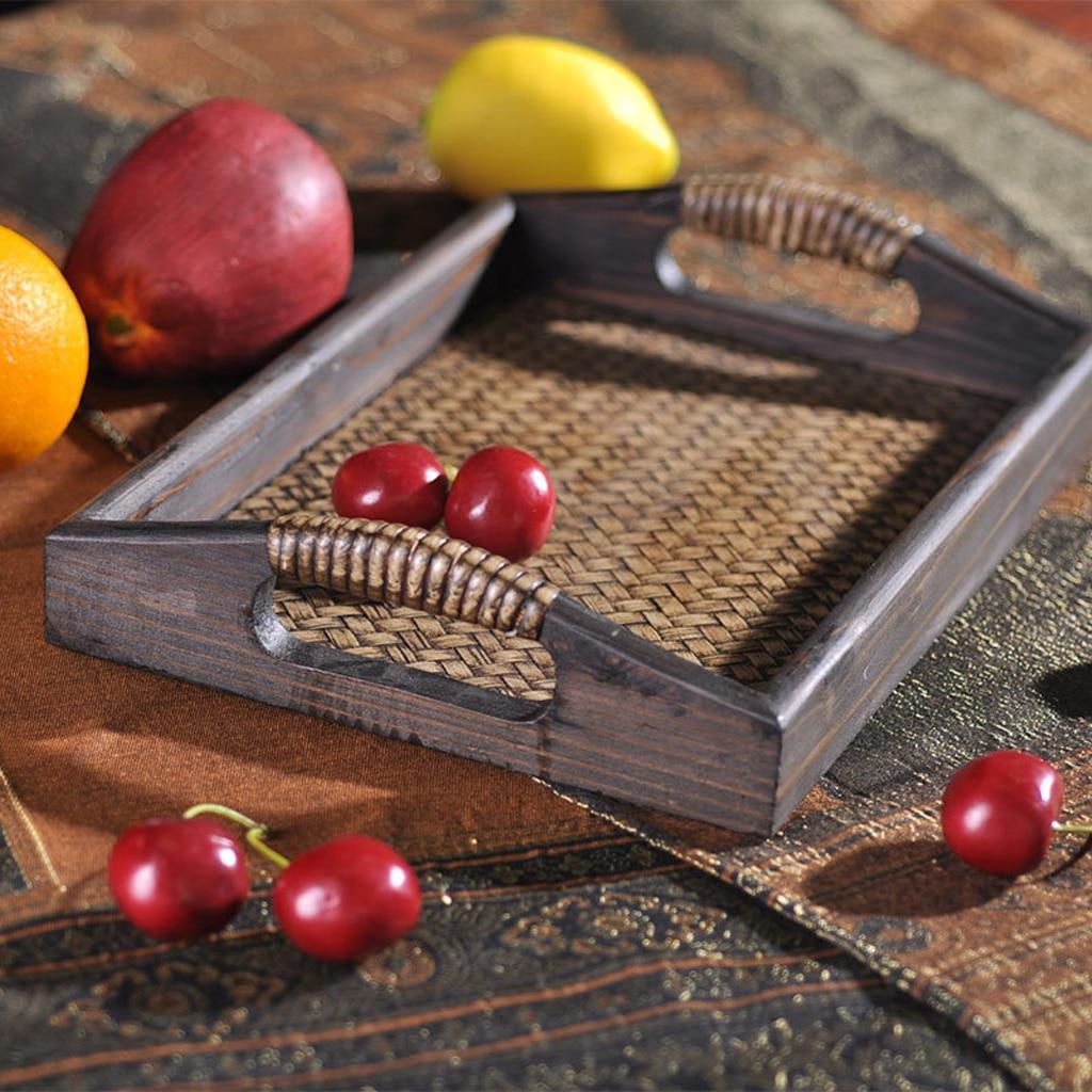 Bandeja de servicio de madera para cama, asas para desayuno, bandeja de té, servicio de transporte con asa, elección de 3 tamaños