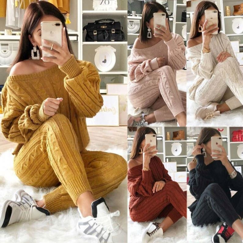 Womens Multi-color Sweater suit comfortable sweater solid color womens knit sweater sets women enlarge