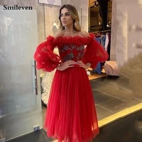 smileven puff sleeve formal evening dress off the shoulder crystal creasing prom party gowns vestido de festa party dresses