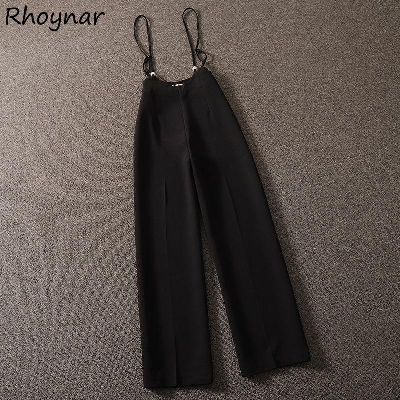 Jumpsuit Women Summer Fashion Wide Leg Loose Casual Full-length Strap Streetwear High Waist Solid Vi