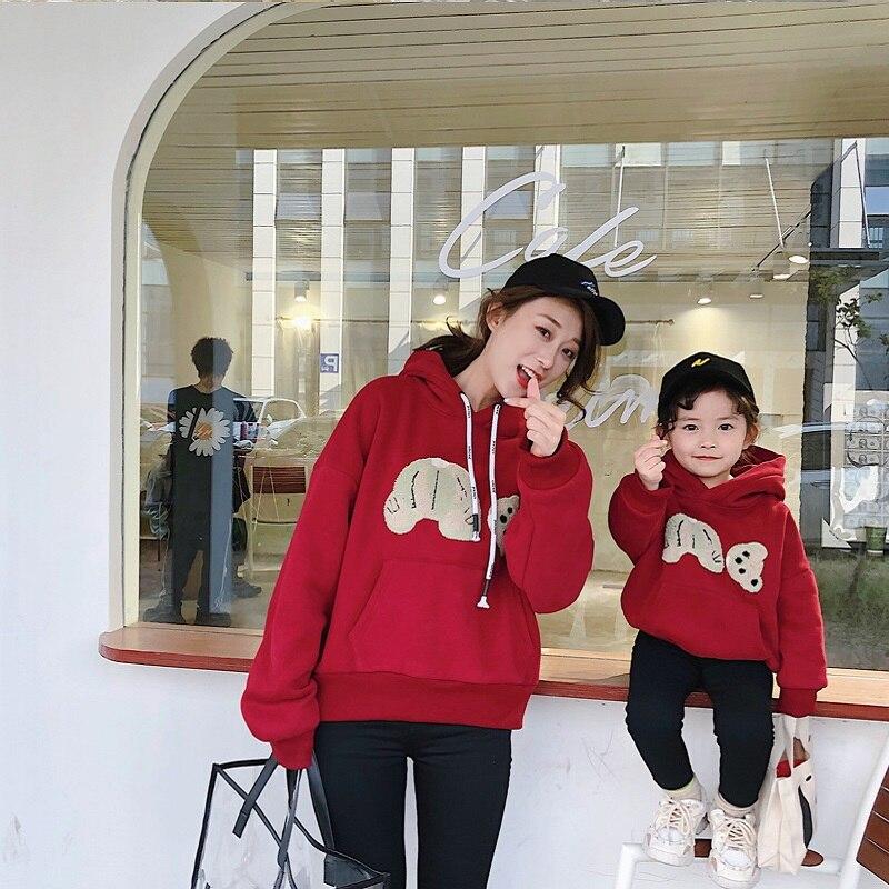 Mama oso bebé oso sudaderas con capucha jerseys para la familia ropa a juego vestido para madre e hija invierno piel madre Mamá hijo trajes