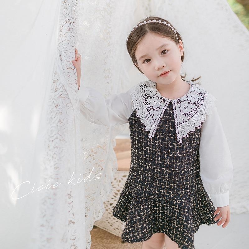 Эксклюзивное платье для девочек из твида с кружевным воротником и оплаченные