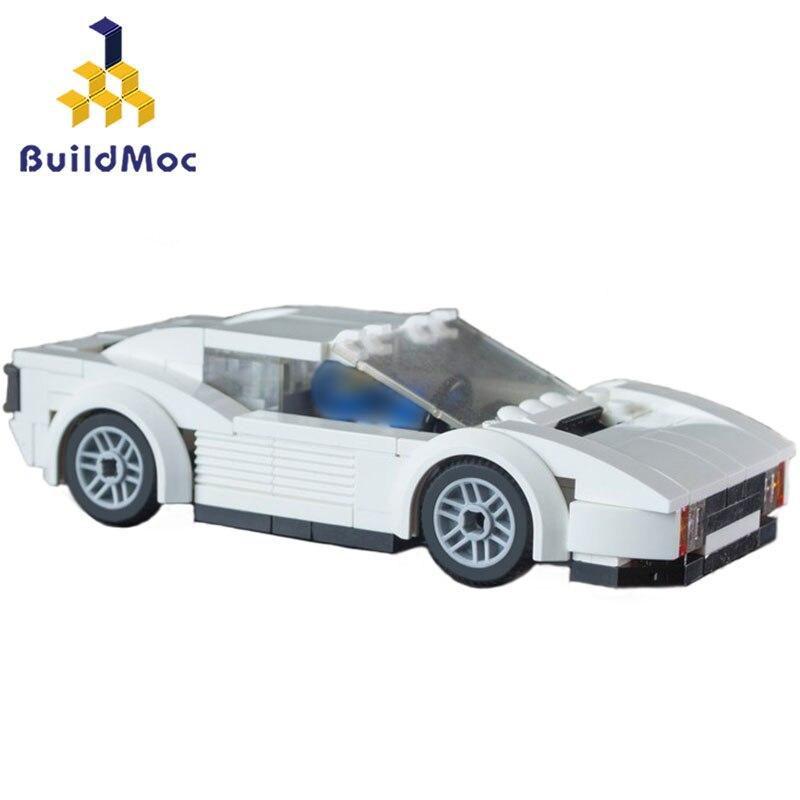 BuildMoc MOC 16979 Miami-Vice Testarossa Vehicle Building Blocks For City Technic Car Bricks Toys For Boys