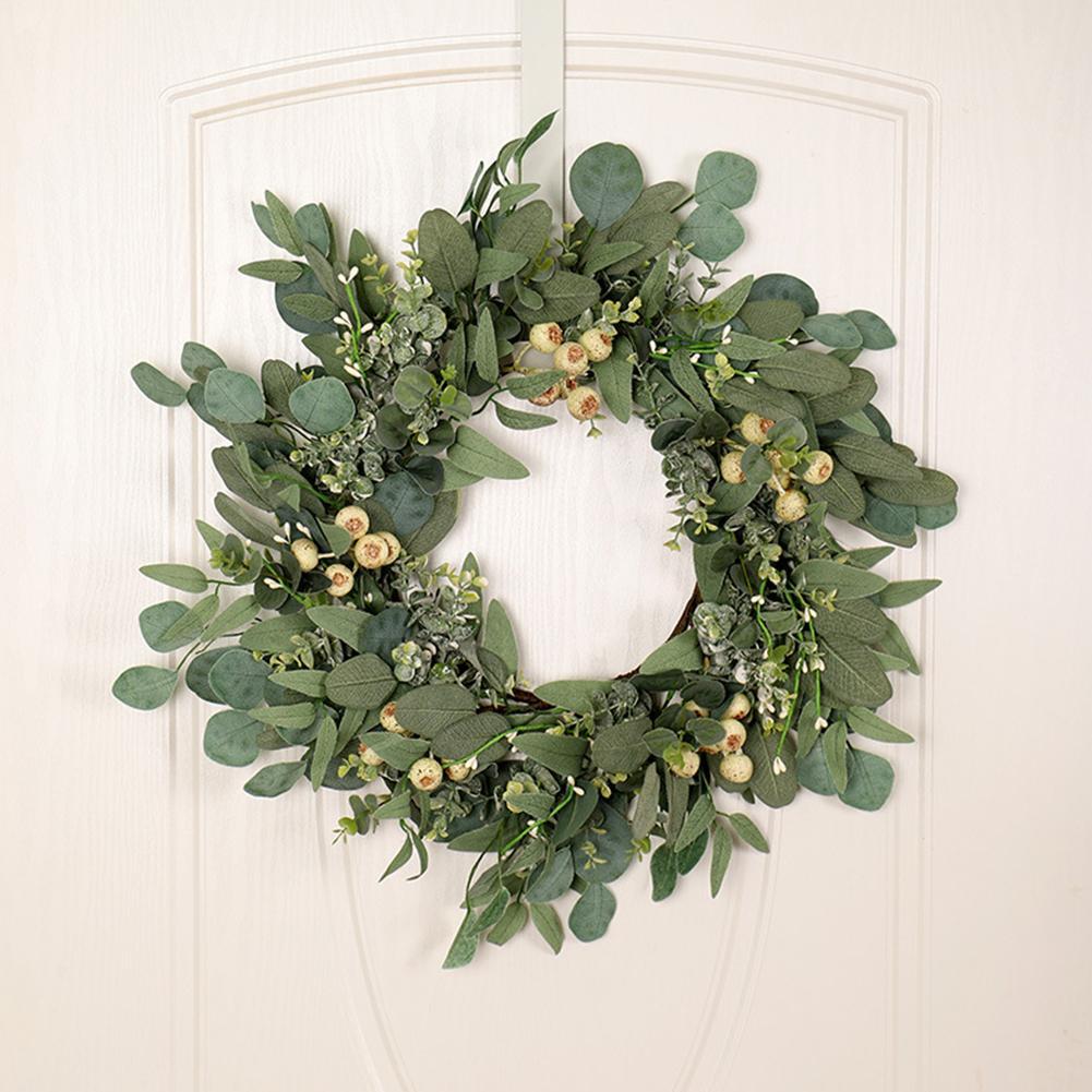 Artificial Green Leaf Eucalyptus Wreath Outdoor Ornaments for Front Door Wall Window Farmhouse Decor