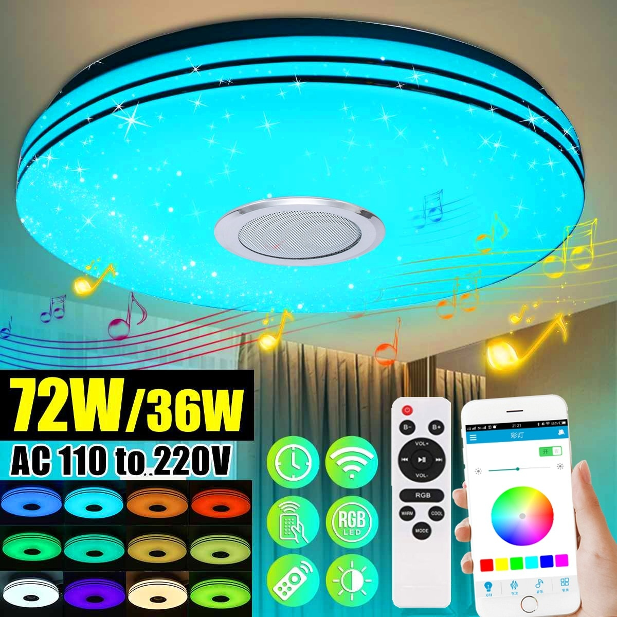 Modern Rgb Led Ceiling Lights Home Lighting 36W 72W App Bluetooth Music Light Bedroom Lamps Smart Ceiling Lamps Remote Controls