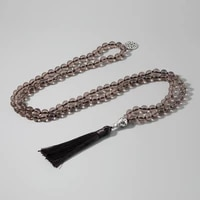 tea crystal beaded knotted 10 mala necklace meditation yoga lucky japamala jewelry comes with tree of life pendant brown tassel