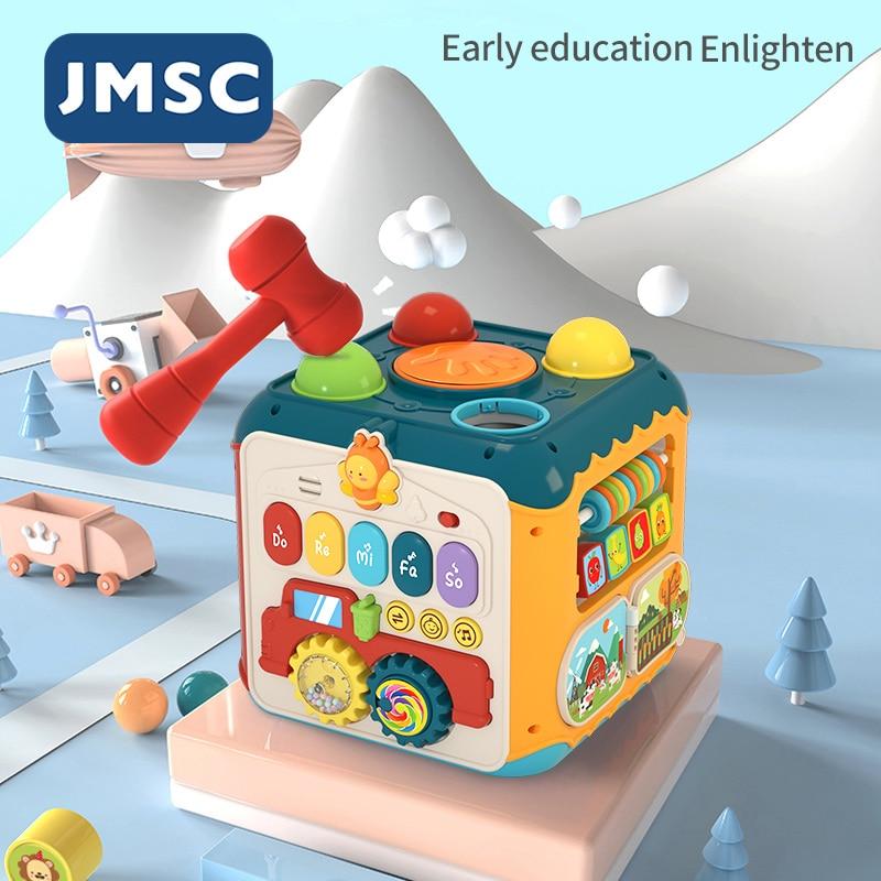 JMSC 6 + 1 الوجهين النشاط صندوق الموسيقى في وقت مبكر التعليمية بدوره حبة والعتاد طبل كتلة الرياضة مدينة ألعاب مونتيسوري الحيوانات الغابات الذكي...