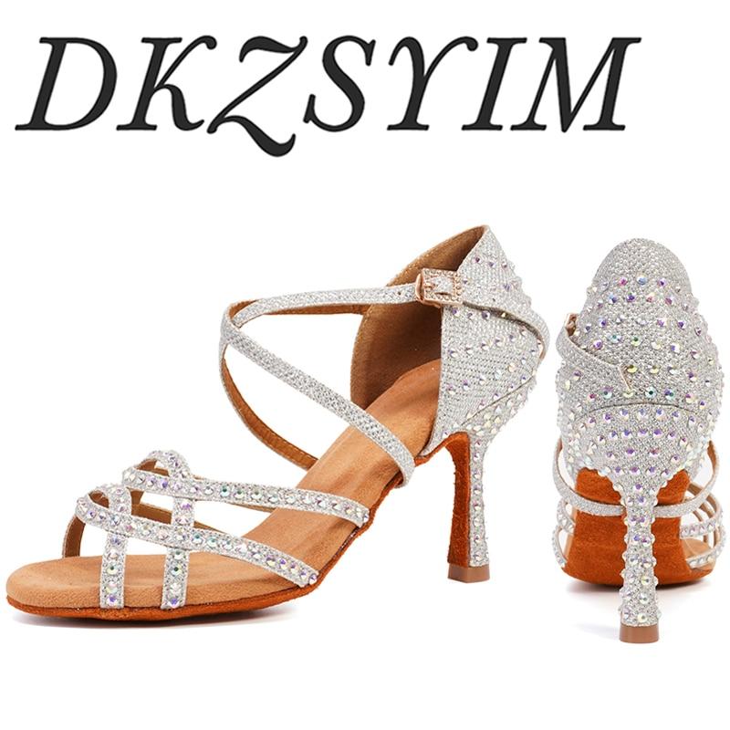 DKZSYIM Latin Dance Shoes Women Rhinestone Salsa Glitter Ballroom Sandals Party Dance Shoes Flare Heel 6-10cm gold silver black
