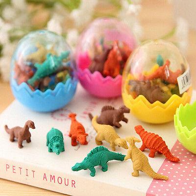 8Pcs Creative Kawaii Cute 3D Dinosaur Egg Shaped Mini Pencil EraserSchool Office Supplies  Stationery