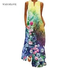 WAYOFLOVE Floral Print Beach Maxi Dress Women Elegant Casual Plus Size Long Dresses Summer Woman Sle