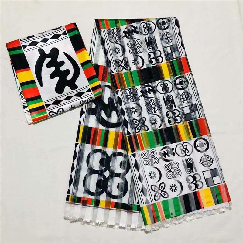 Venta caliente 4Y ORGANZA + 2Y material de la cinta colorfast Nigrian diseño africano cera patrón satén seda tela XM12508
