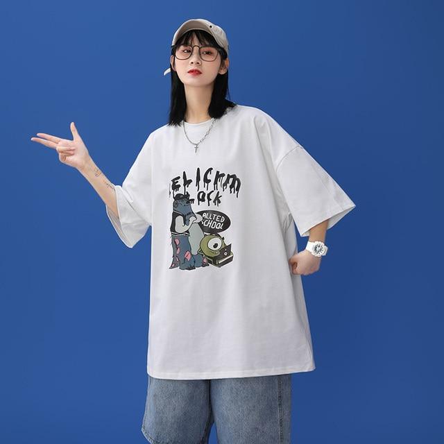 oversized T-shirt Women Casual 100% Cotton Short Sleeve Unisex O-Neck Tshirt Fashion Fun Print Harajuku Plus Size punk clothes 2