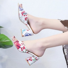 2021 Summer New Women  Fashion High Heel Pu Printing Sandals Comfortable Versatile Hot  Square Heel