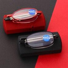 Fashion MINI Design occhiali da lettura a prova di luce blu uomo donna pieghevole occhiali piccoli montatura occhiali in metallo nero con scatola originale