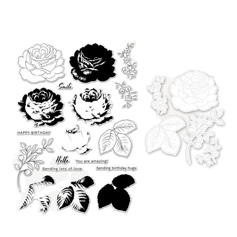 2021 New Layer Flower Clear Stamps and Cutting Dies for Scrapbooking Paper Making Hello Embossing Frames Card Crafts