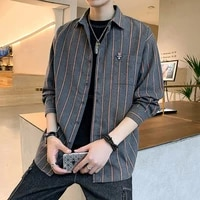 japanese fashion 2021 spring new shirts for men striped long sleeve button up smart casual large size loose oversized m 4xl