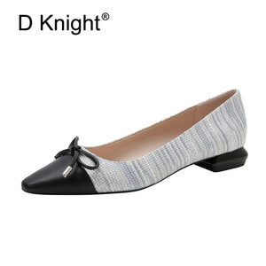 Plus Size 35-41 Women Pumps Shoes Korean Bow Mixed Color Single Office Lady Work Shoes Slip On 2CM Low-Heeled Pumps Women Shoes
