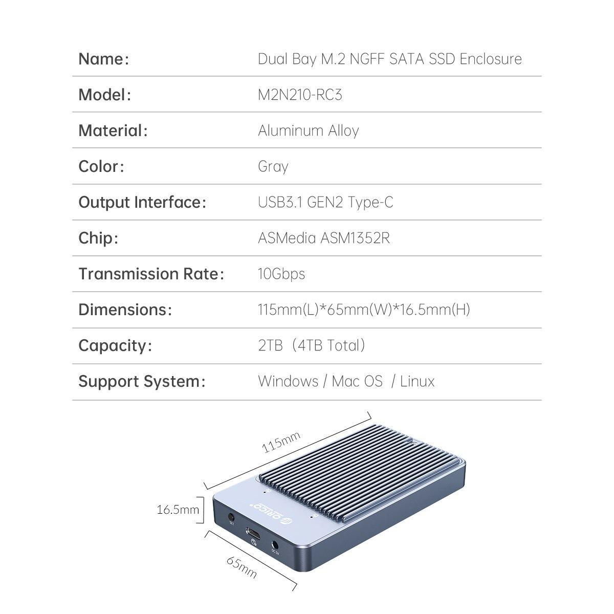 ORICO LSDT RAID Dual Bay M2 SSD Case Support M.2 NGFF SATA SSD Disk For B Key & B+M Key SSD Support PM/RAID 0/RAID 1/JBOD Mode enlarge