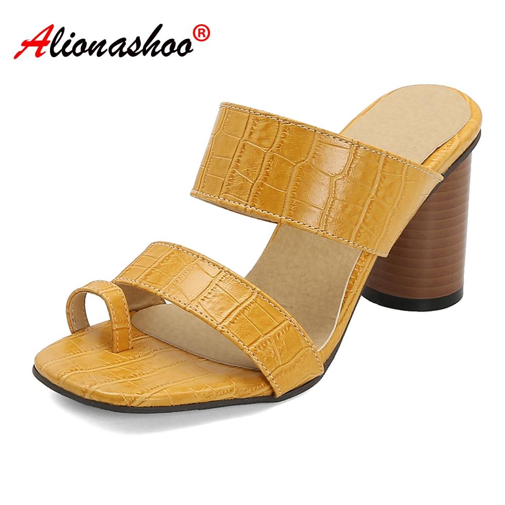 Zapatillas de verano para mujer, zapatillas de Color liso para mujer, Sandalias de tacón alto a la moda, zapatos con punta abierta, sandalias para mujer, sandalias de mujer deslizantes 48