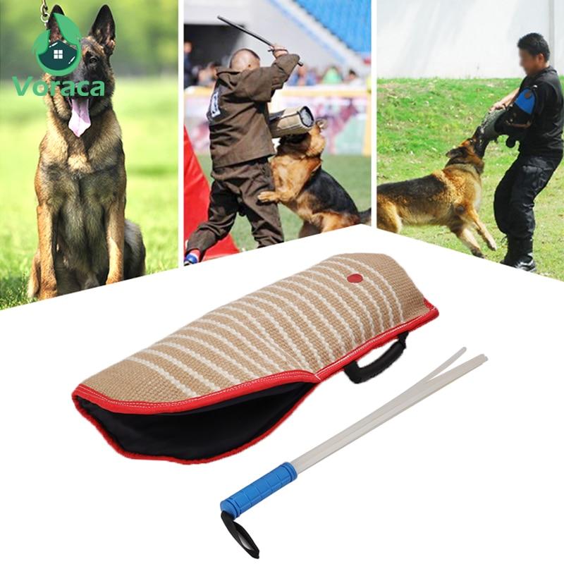 Professional Dog Bite Training Protection Sleeve Set with 57cm Whip Agitation Stick Bite Target Horse Dogs Training Arm Sleeve