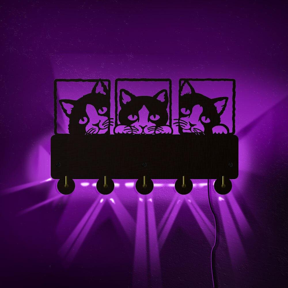 Estante de 5 ganchos para colgar en la pared para decoración rústica del hogar para el hogar, lindo abrigo de gatitos, organizador para colgar