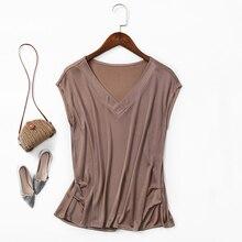 Kadınlar için T shirt % 100% doğal ipek tee gömlek femme gömlek v yaka kolsuz Batwing pilili kat Hem Casual gevşek m-XL