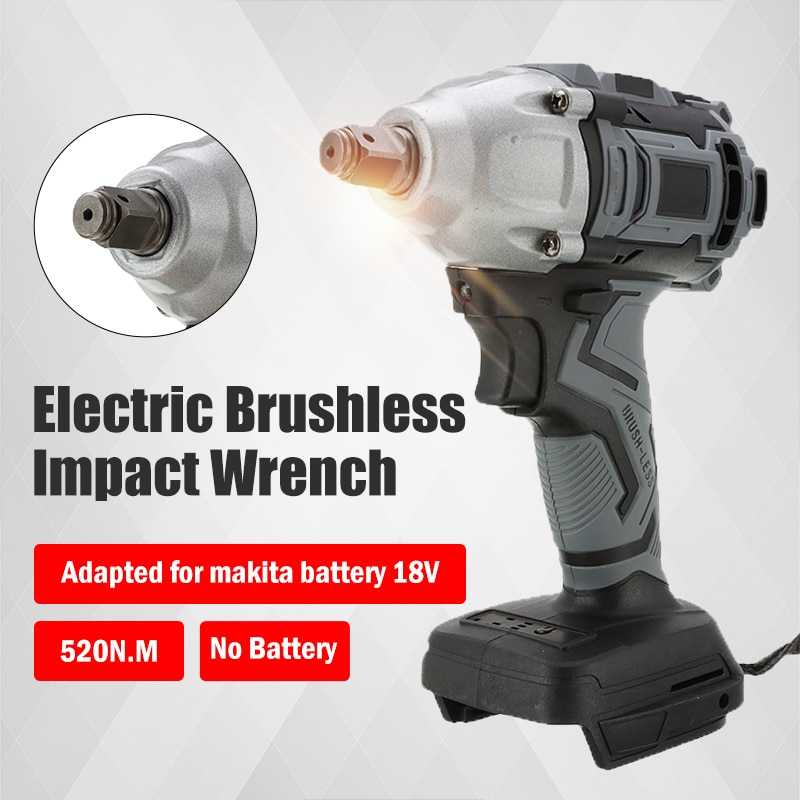 18V Cordless Wrench Power Tool For Makita Battery 520Nm Electric Brushless Impact Wrench Rechargeable 1/2 Socket