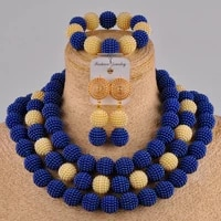 royal blue champagne gold costume necklace african set simulated pearl nigerian wedding beads jewelry sets fzz101