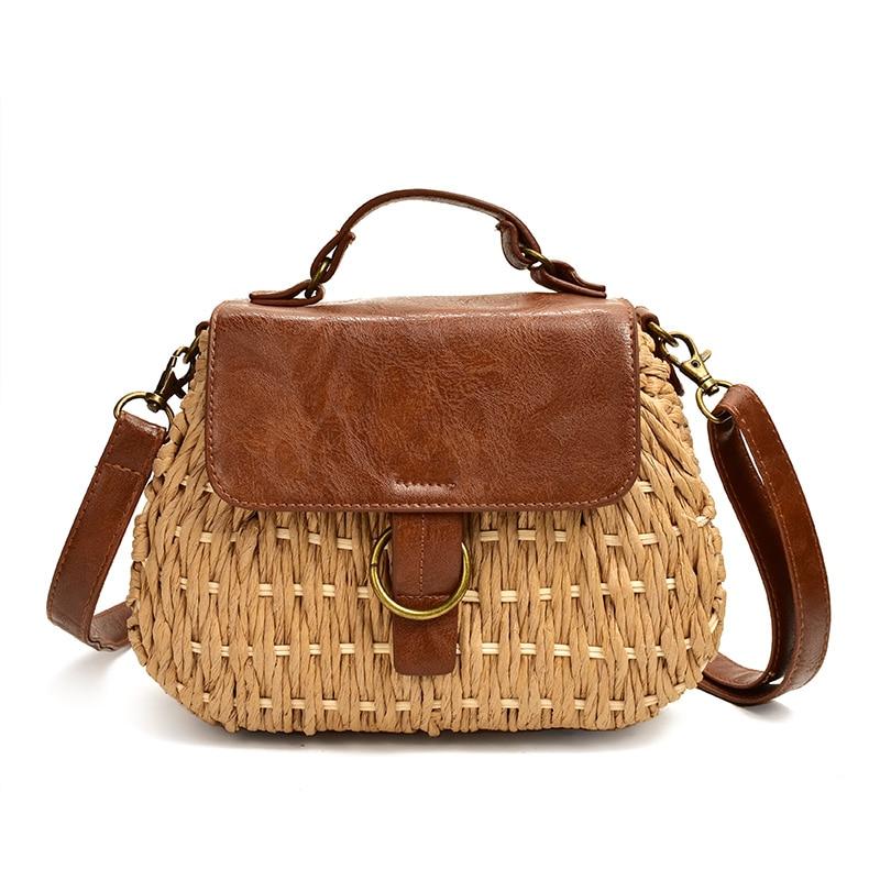 Bolsa vintage de palha, porco, praia, casual, tecelagem, rattan, bolsa de mão