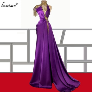 Luxury Purple Prom Dresses With Gold Beading Long Mermaid Cocktail Party Dresses Evening Wear Muslim Evening Gowns For Women