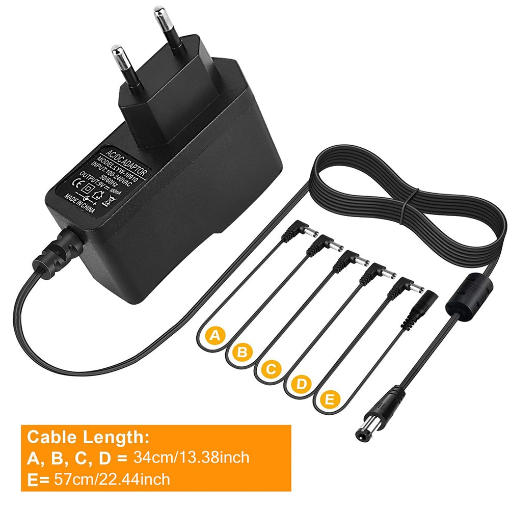 Pedal de efecto guitarra eléctrica de 5 vías, accesorios de fuente de...