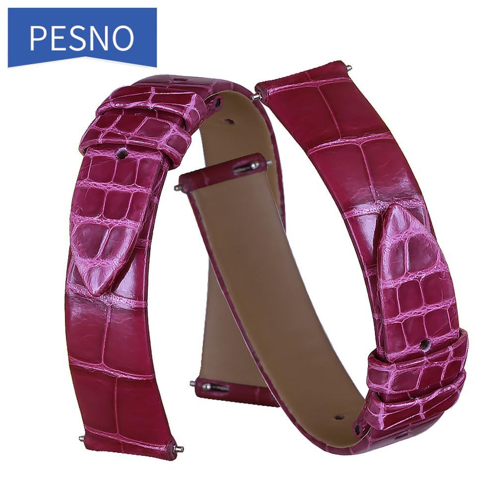 Correa de reloj de piel de cocodrilo Pesno, accesorios para mujer, correa de reloj adecuada para Jaeger-LeCoultre Q2568402/3448421/2655420