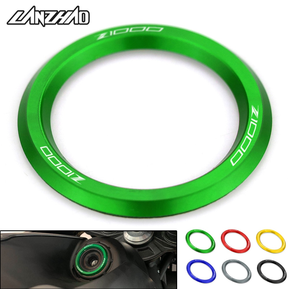 luminous ignition switch cover key aluminum alloy switch decoration ring motorcycle car styling interior accessories promotion Z1000 Motorcycle Ignition Cover Key Switch Ring CNC Aluminum Accesory for Kawasaki Z1000 2013 2014 2015 2016 2017 2018 2019 2020