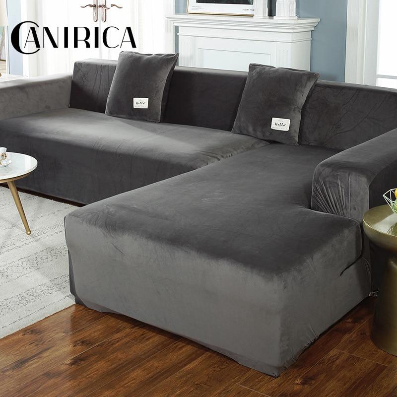 Canirica capa de sofá estiramento velve capas de sofá para sala de estar capa de sofá l-forma poltrona elástica capa de mobiliário cor sólida